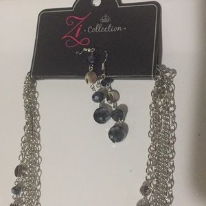 Long chain necklace with earrings